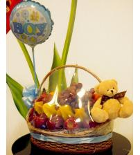 Fruit Basket with teddy & balloon