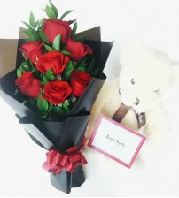 Roses with Teddy Bear (L)